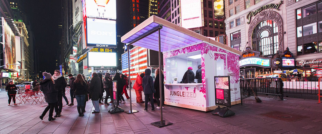 JUNGLE-IZED: A Conversation with NatureApril 1, 2016 - April 30, 2016Soundwalk CollectivePhotograph by Ka-Man Tse for @TSqArts. Midnight Moment is a presentation of the Times Square Advertising Coalition (TSAC) and Times Square Arts. Midnight Moment: A Digital Gallery is the largest coordinated effort in history by the sign operators in Times Square to display synchronized, cutting-edge creative content at the same time every day. JUNGLE-IZED is directed by Stephan Crasneanscki of Soundwalk Collective. Inviting spectators to take part in a simple collective action in celebration of Earth Month, JUNGLE-IZED reveals the hidden energy that exists in one of the most biodiverse environments in the world, bringing the animals, the air, the trees, and the tribal inhabitants of the Amazon to New York City. The video was shot along the 73rd meridian west that connects Times Square with the Amazon.
